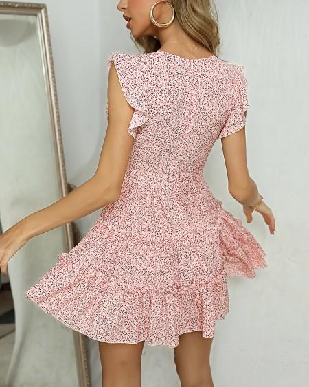 Floral Print V Neck Ruched Dress