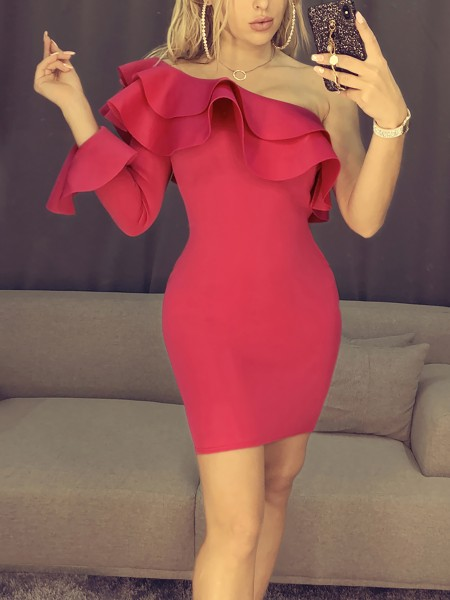 One Shoulder Layered Ruffle Party Dress