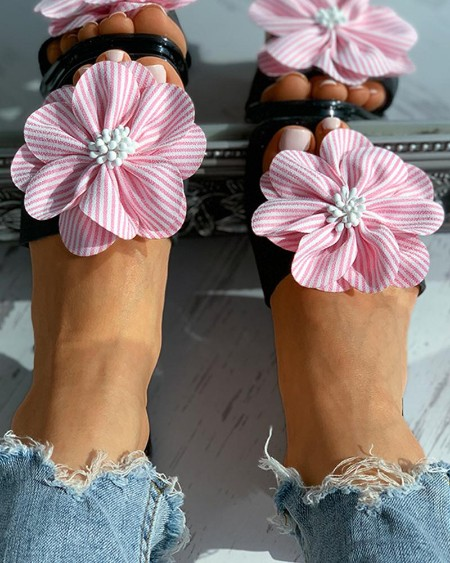 Striped Floral Pattern Square Toe Flat Sandals