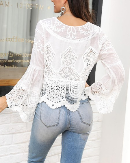 Solid Hollow Out Lace Bell Sleeve Blouse