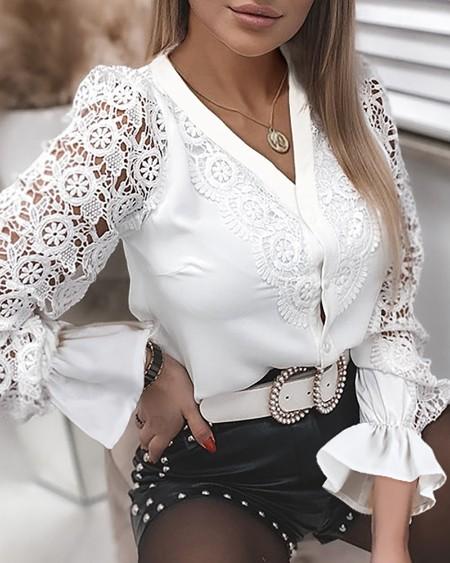 Guipure Lace Long Sleeve Button Design Top