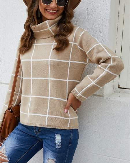Plaid High Neck Long Sleeve Knit Sweater