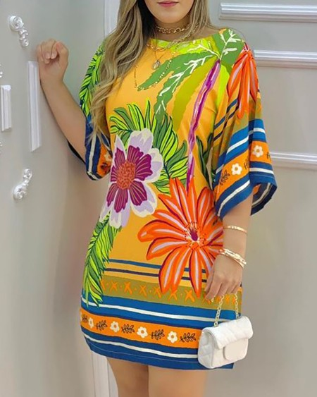 Tropical Print Half Sleeve Casual Dress