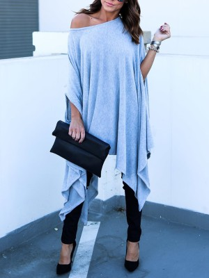 Asymmetric Batwing Sleeve Casual Blouse