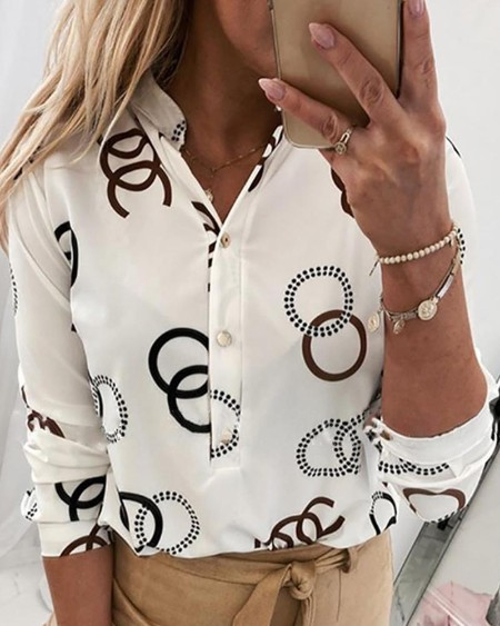 Buttoned Print Long Sleeve Casual Blouse
