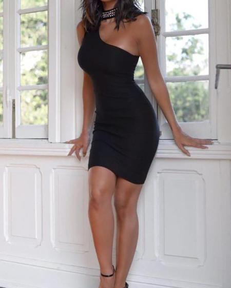 Sequin Choker Neck One Shoulder Bodycon Dress