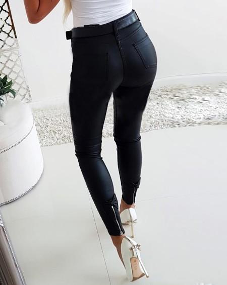 Pu Zipper Design Bowknot Detail Pants