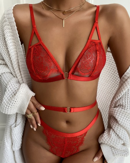 Eyelash Lace O-Ring Cutout Lingerie Set