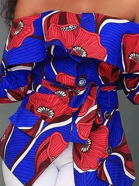Off Shoulder Floral Print Irregular Blouse