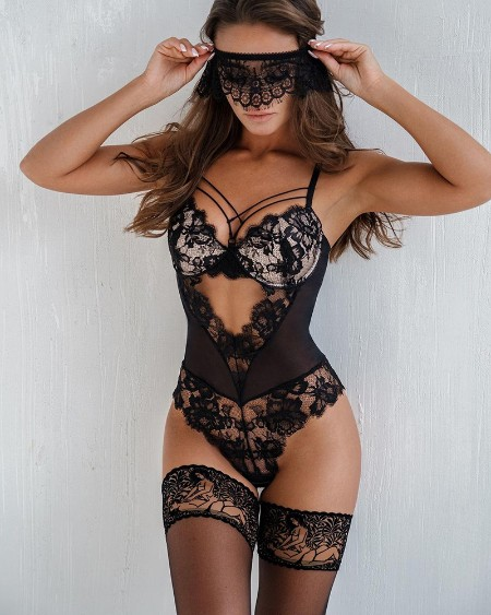 Lace Trim Cutout Sexy Teddy With Mask