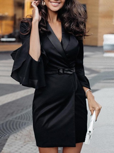 Layered Ruffles Bell Sleeve Blazer Dress