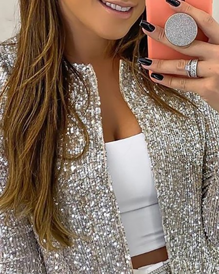 Long Sleeve Open Front Sequin Coat