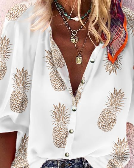 boutiquefeel / Pineapple Print Buttoned Casual Blouse