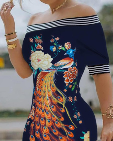 Off Shoulder Floral Peacock Print Striped Tape Bodycon Dress
