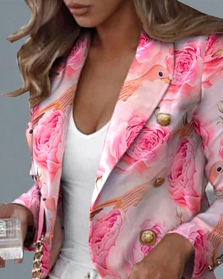 Double Breasted Flower Birds Print Blazer Coat