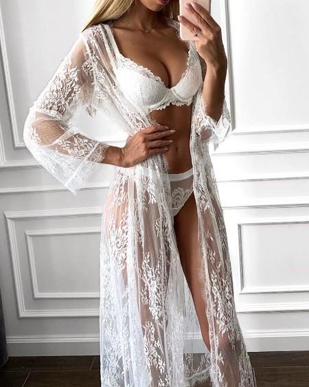 Lace Sheer Mesh Lingerie Set With Eyelash Lace Cardigan