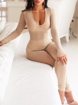 Rhinestone Low Cut See Through Slinky Jumpsuits