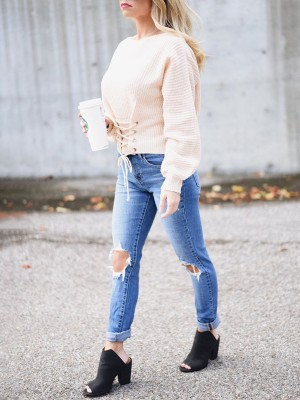 Stylish Lace-up Batwing Sleeve Sweater