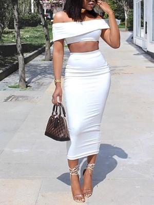 Solid Fold Over Bardot Top & Midi Skirts Set