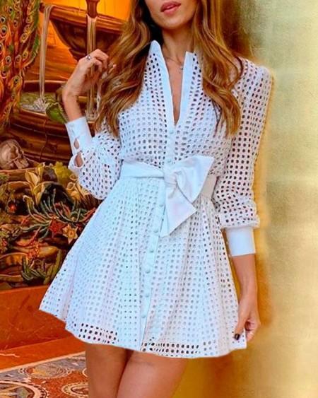Hollow Out Button Design Long Sleeve Shirt Dress