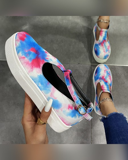 Tie Dye Round-toe Curt-out Platform Sneakers