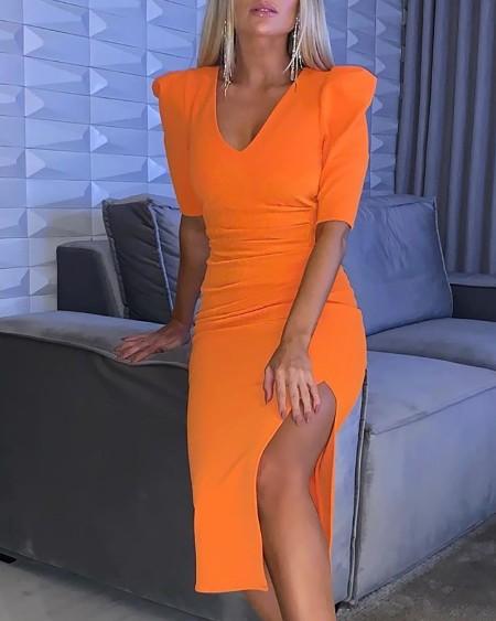 Solid Half Sleeve High Slit Ruched Dress