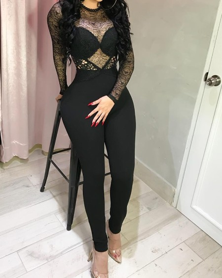 Sheer Lace Bodice Long Sleeve Jumpsuit