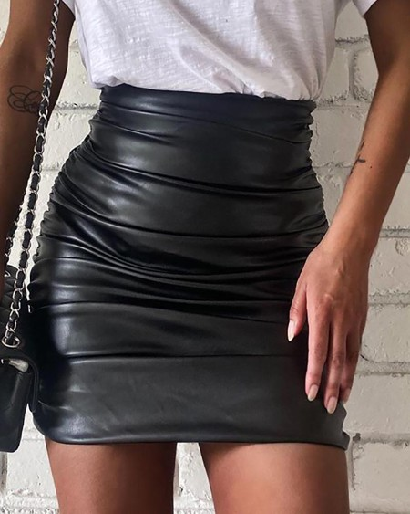 Ruched High Waist Pu Leather Skirt
