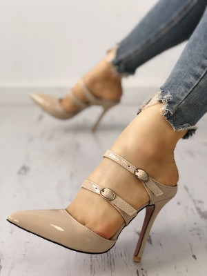 Solid Buckled Pointed Toe Thin Heeled Sandals