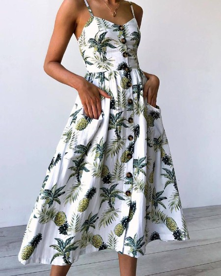 boutiquefeel / Tropical Button Front Party Wear Midi Dress