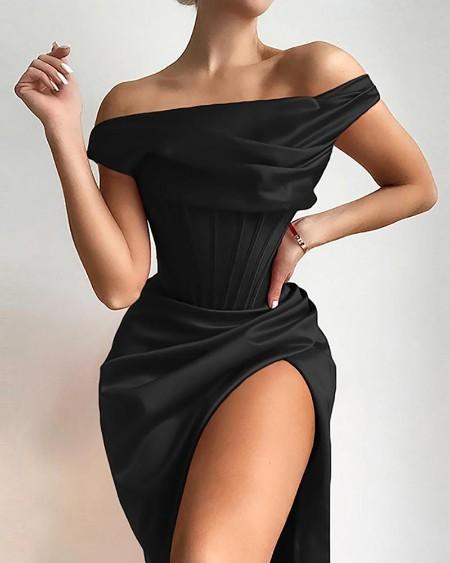 Plain Off Shoulder Ruched High Slit Dress