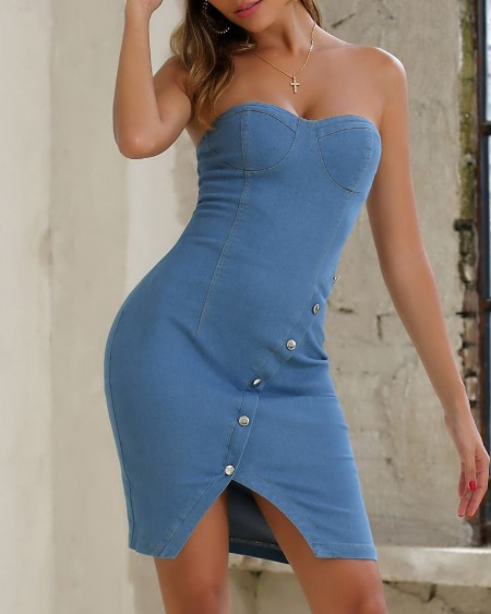 Off Shoulder Slit Bodycon Denim Dress