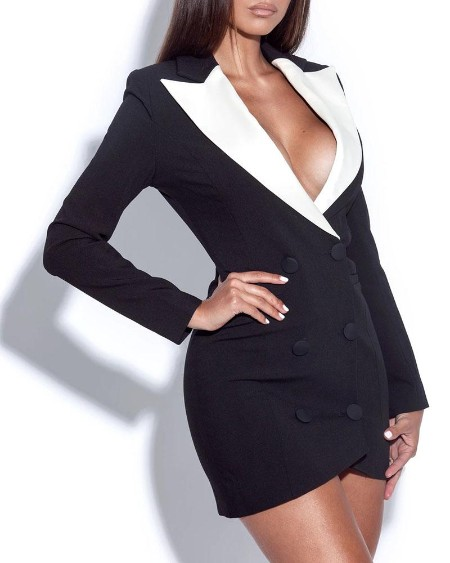 Double Breasted Colorblock Blazer Dress
