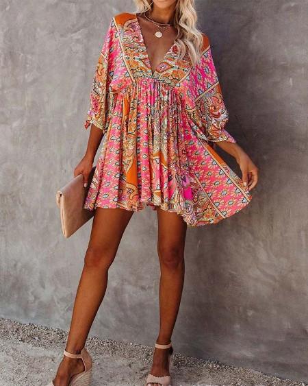 All Over Print Half Sleeve Casual Dress