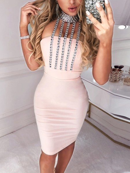 Stud Detail Choker Halter Party Dress