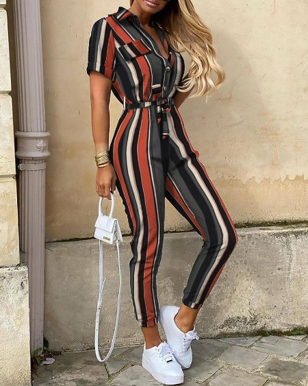 Striped Short Sleeve Bottoned Jumpsuit