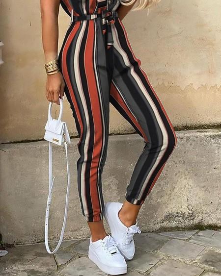 Striped Short Sleeve Bottoned Jumpsuit