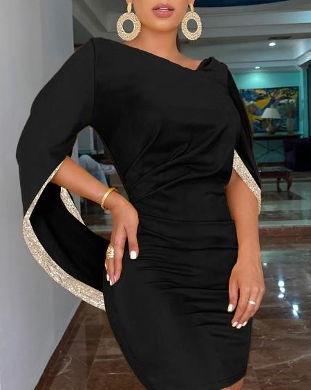 Sequins Cloak Design Bodycon Dress