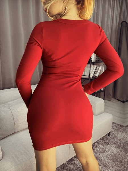 Caged Neck Long Sleeve Bodycon Dress
