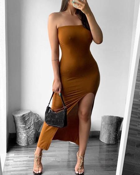 High Slit Bandeau Skinny Maxi Dress