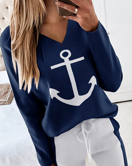 Boat Anchor Print Long Sleeve Top & Drawstring Waist Pants Set