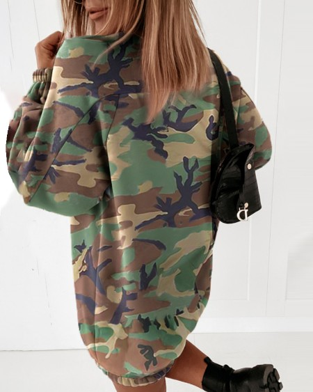 Camouflage Letter Print Casual Sweatshirt Dress
