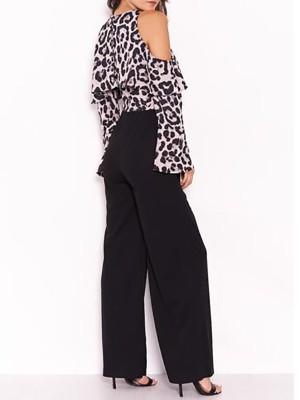 Leopard Print Cold Shoulder Patchwork Jumpsuit