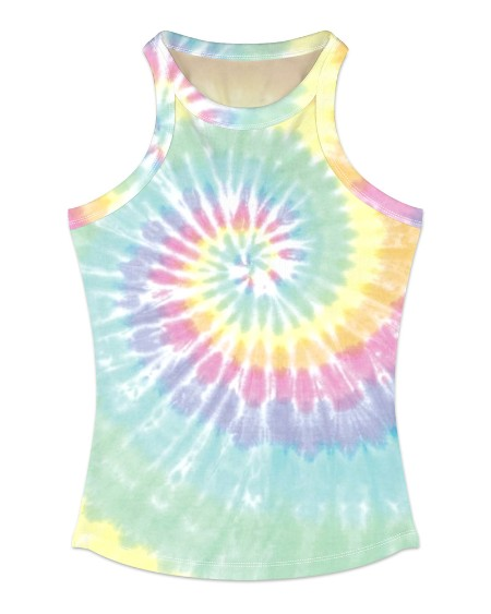 Tie Dye Print Sleeveless Casual Top