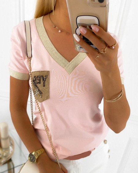 Colorblock Pocket Patch Casual Top