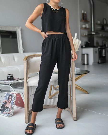 Solid Sleeveless Tanks With Pants Suit Sets