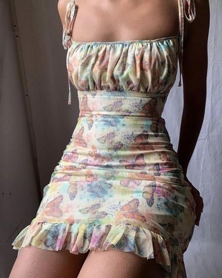 Spaghetti Strap Butterfly Print Dress