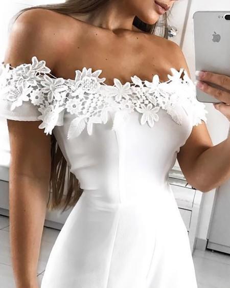 Off Shoulder Floral Lace Applique Romper