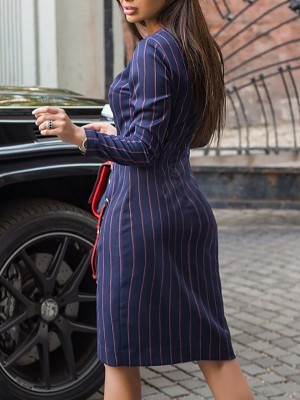 Contrast Stripes Button Ruched Slit Side Dress