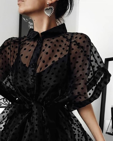 Dot Print Semi Sheer Buttoned Dress
